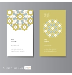 Visit cards set with arabic ornament vector