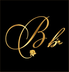 Gold letter b with roses vector