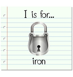 Flashcard letter i is for iron vector
