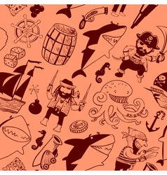 seamless pattern with pirates and sharks vector image