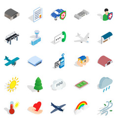 Airborne icons set isometric style vector