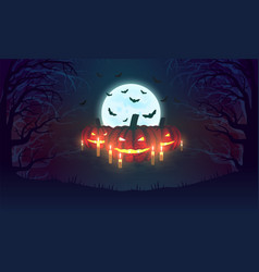 background with pumpkins bats moon and scary vector image vector image
