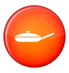 Black frying pan icon flat style vector