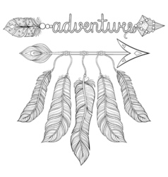 Boho chic ethnic dream arrow with feathers vector