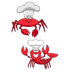 Cartoon red crab and shrimp chefs in cook hats vector image