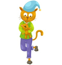 Cat and teddy bear vector