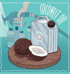 Coconut oil used for fuel production vector