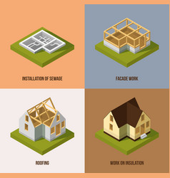 different construction stages isometric vector image vector image