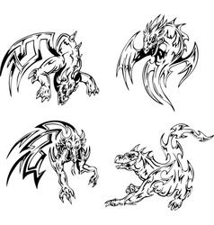 Dragon tattoos set vector
