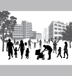 families walking in the town vector image vector image