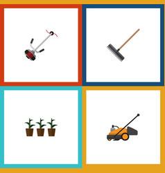 Flat icon farm set of flowerpot grass-cutter vector