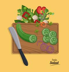 Fresh salad onion cucumber slice knife vegetables vector