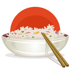fried rice with asian chopsticks vector image