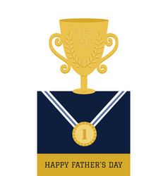 Happy fathers day champion dad card vector