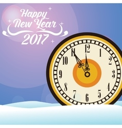 Happy new year 2017 greeting card big clock snow vector
