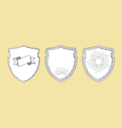 Heraldic shields vintage elements decorative set vector