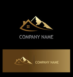 House mountain gold logo vector