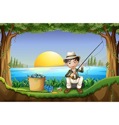 Man fishing by the lake vector image