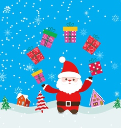 Merry christmas background with santa claus and vector image