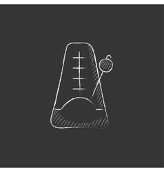 Metronome Drawn in chalk icon vector image vector image