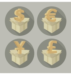 Money signs in boxes vector image vector image