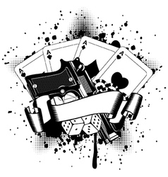 Pistols and playing cards dice chips vector
