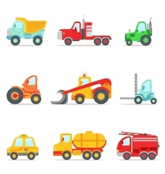 Public Service Construction And Road Working Cars vector image vector image