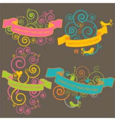 retro banners with birds vector image vector image