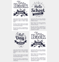 School related set of black and white stickers vector