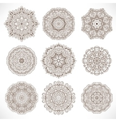 Set mandalas round ornament pattern vector