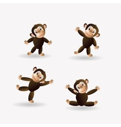 Set of funny monkeys vector image