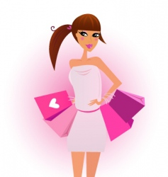 shopper shopping girl vector image vector image