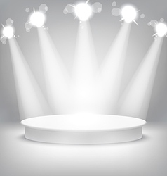 Studio with a podium and spotlights grey show vector image vector image
