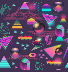 synth wave seamless pattern futuristic background vector image