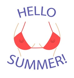 T shirt graphics Hello summer Sexy bust vector image