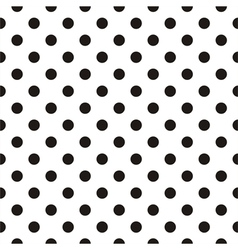 Tile black polka dots on white background vector