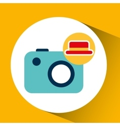 Travel tourist hat concept photo camera vector