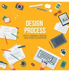 Web design concept with objects and devices vector image vector image