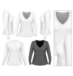 Womens v-neck long sleeve t-shirt vector