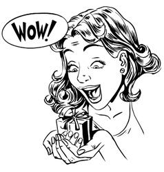 Wow gift girl reaction vector image