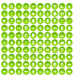 100 ecology icons set green circle vector