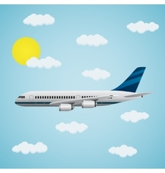 Passenger airplane in the sky vector