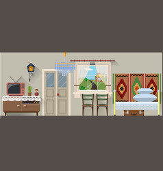 retro interior in flat vector image
