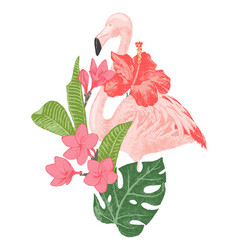 Hand drawn flamingo with tropical flowers vector