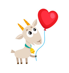Cute and funny goat holding red heart shaped vector