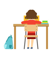 girl reading the book sitting at the desk in vector image