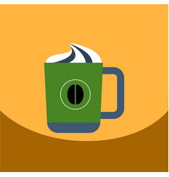 Flat icon design collection cup of cappuccino vector