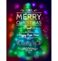 Merry Christmas card on blurred background vector image
