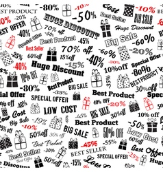 Seamless pattern on discounts and special offers vector image