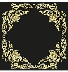 gold frame pattern black background vector image